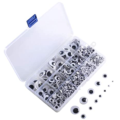KINDPMA 1220Pcs Ojos Moviles Autoadhesivos Plastico Ojos Adhesivos Manualidades Wiggle Ojos para Muñecos Peluches DIY Scrapbooking