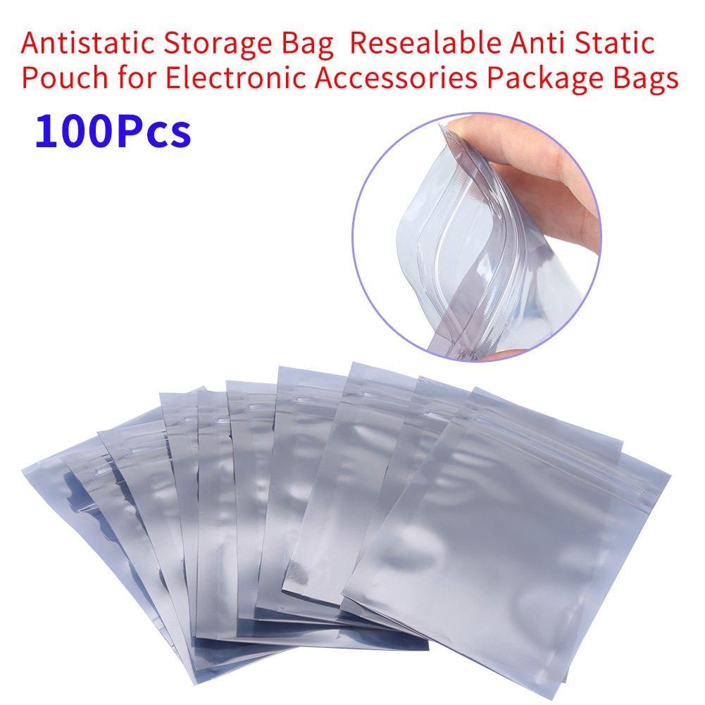 Akozon Antistatische Lagerung Paket Tasche 100 Teile//satz 6x9 cm Antistatische Wiederverschlie/ßbare Druckverschlussbeutel Aufbewahrungstasche f/ür Elektronische Zubeh/örteile