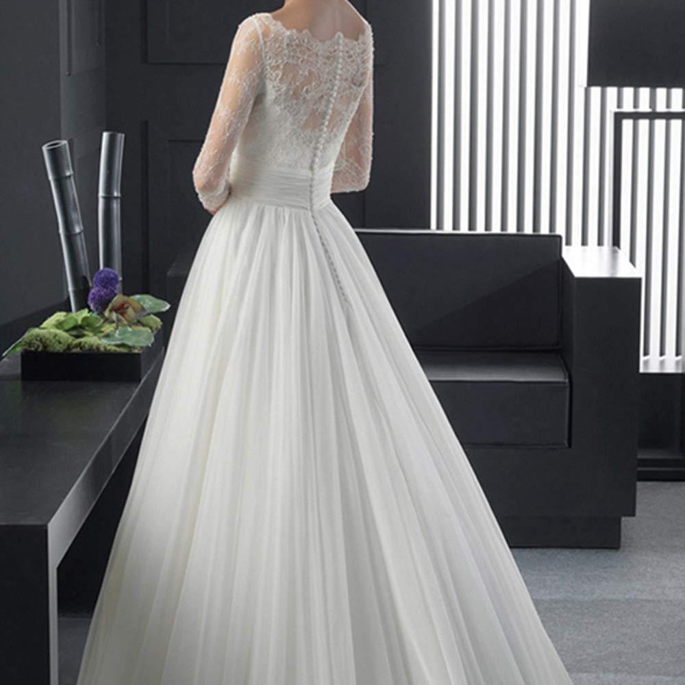 Robes de Mariage Taille : XS Robe de mari/ée tra/înante en Dentelle /à Manches Longues asym/étrique Princesse Mari/ée