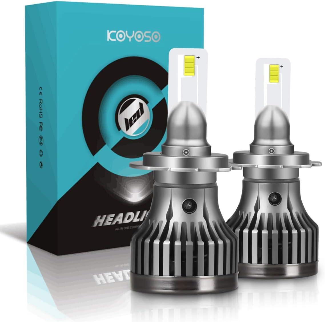 KOYOSO Bombillas H7 LED Coche Luces 12000LM 6000K, 2 Pack