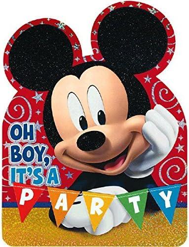 Amscan Disney Baby Mickeys 1St Birthday Deluxe Jumbo Postcard Invitation Blue 8 Piece 8 X 6