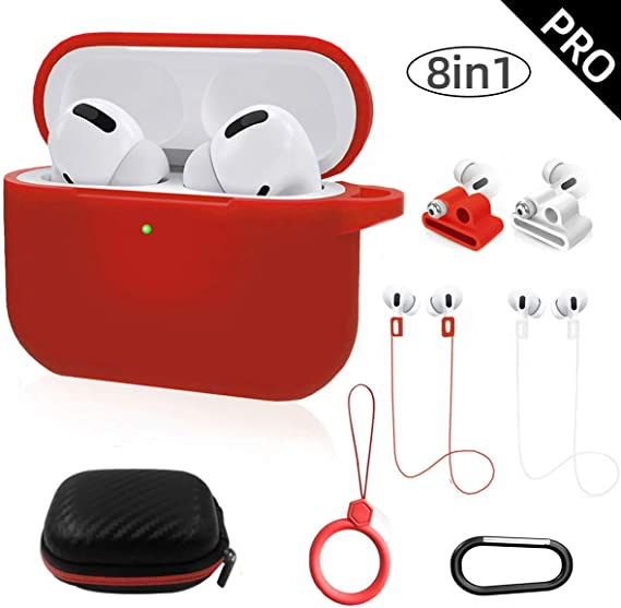 Amazon Com Airpods Pro Case Toluohu Airpods Pro Accessories 8 In 1 Kit Protective Cover Compatible With Apple Airpods Gen3 Charging Case Ring Watch Band Airpods Pro Holder Keychain Carrying Box Red