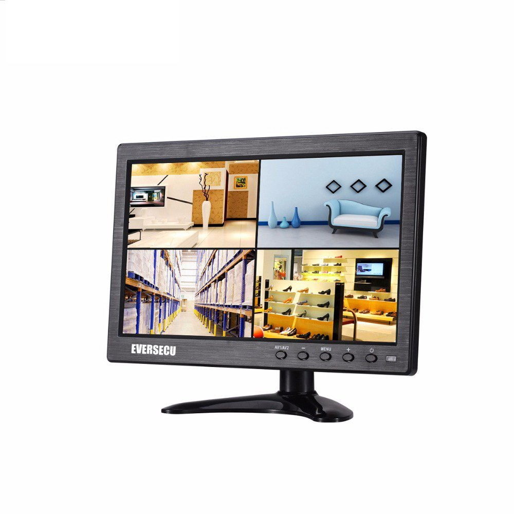 10'' Inch CCTV Monitor HD 1024x768 Portable Display TFT LCD Color Video Monitor with BNC HDMI VGA AV Input for FPV DVR CCTV Cam Car Monitor PC Computer Monitor Home Office Surveillance System