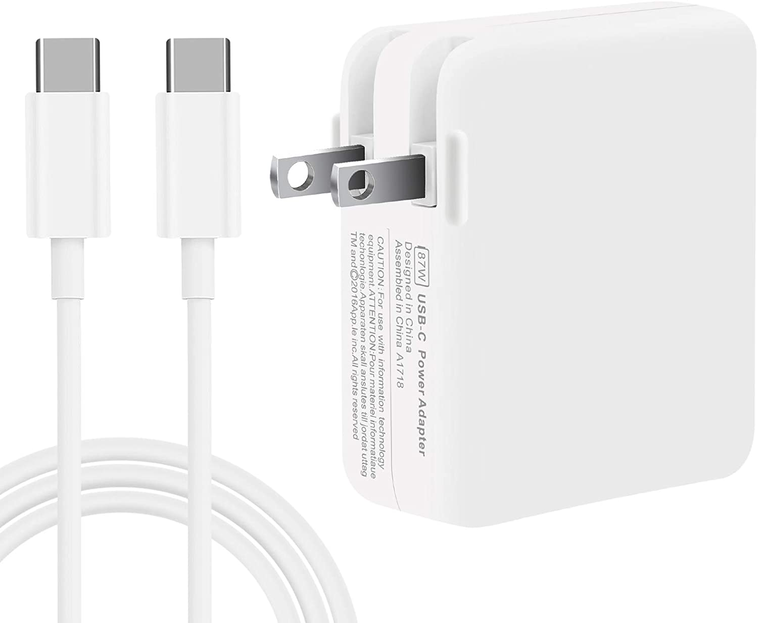 87W Replacement MacBook Pro Charger, 87W USB C Mac Pro Charger Power Adapter Compatible with Mac Book Pro 15 Inch 13 Inch 2018 2019 2020 with Type C Charge Cable