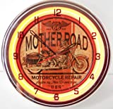 Mother Road Motorcycle 15'' Neon Lighted Wall Clock Sign Orange