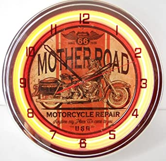 Mother Road Motorcycle 15 Neon Lighted Wall Clock Sign Orange