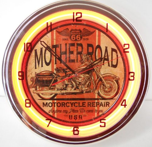 Mother Road Motorcycle 15'' Neon Lighted Wall Clock Sign Orange by Route 66