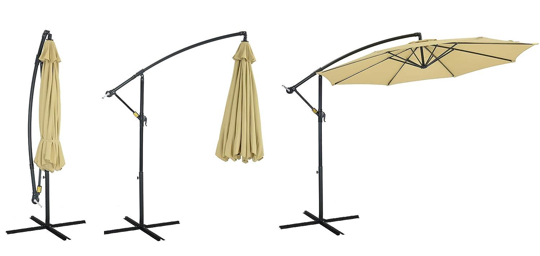 Patio Watcher 10ft Offset Hanging Patio Umbrella Adjustable Cantilever Umbrella Outdoor Market Umbrella with Crank Cross Base for Backyard, Garden, Lawn and Pool – Beige