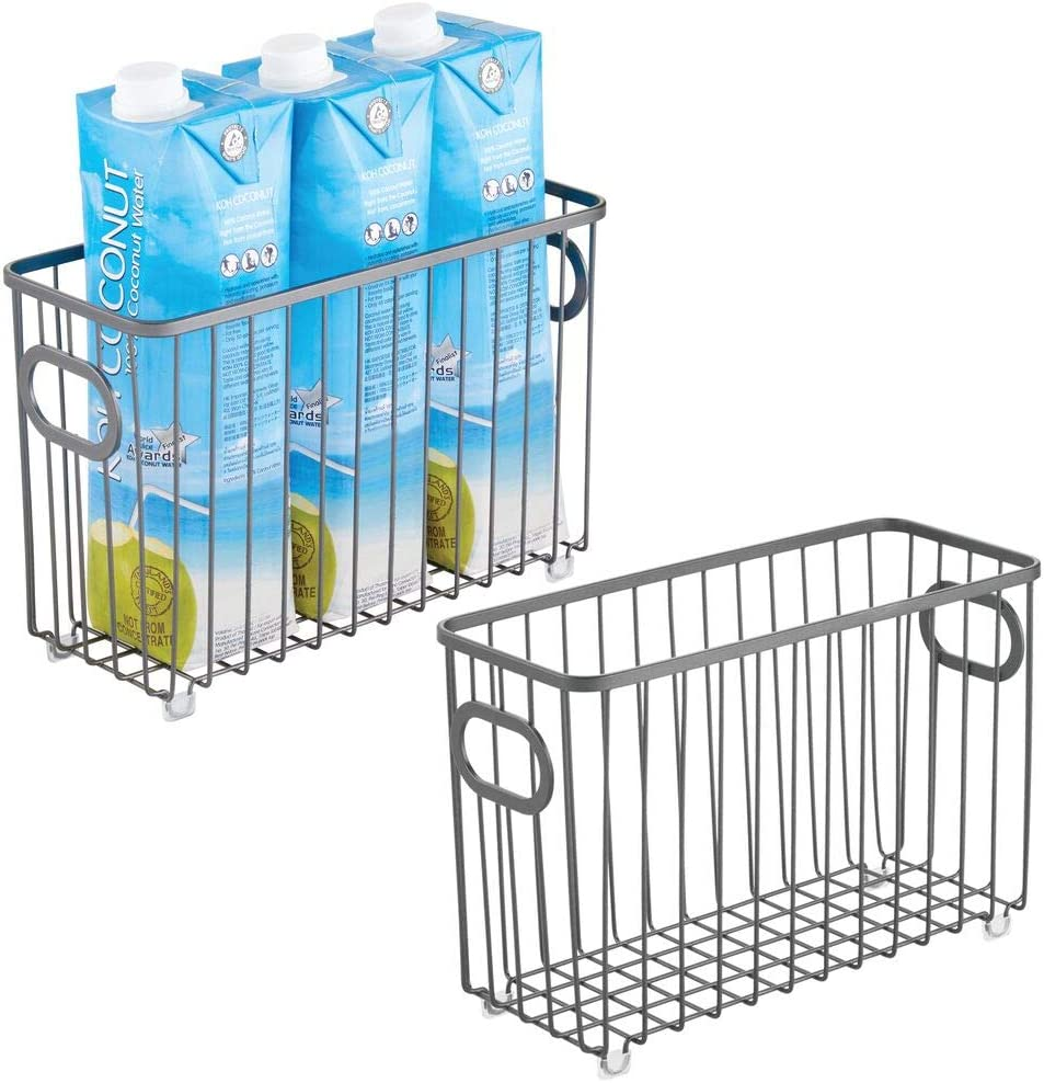 mDesign Metal Farmhouse Kitchen Pantry Food Storage Organizer Basket Bin - Wire Grid Design for Cabinets, Cupboards, Shelves, Countertops, Holds Potatoes, Onions, Fruit - Small, 2 Pack - Graphite Gray