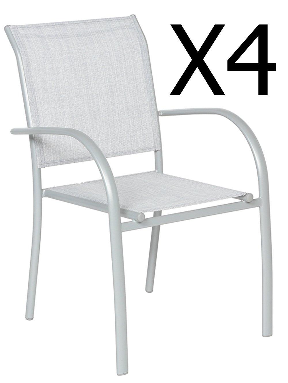 Lot de 4 fauteuils coloris Galet chiné/Silver Mat - Dim : L.65 x P.56 x H.86 cm -PEGANE