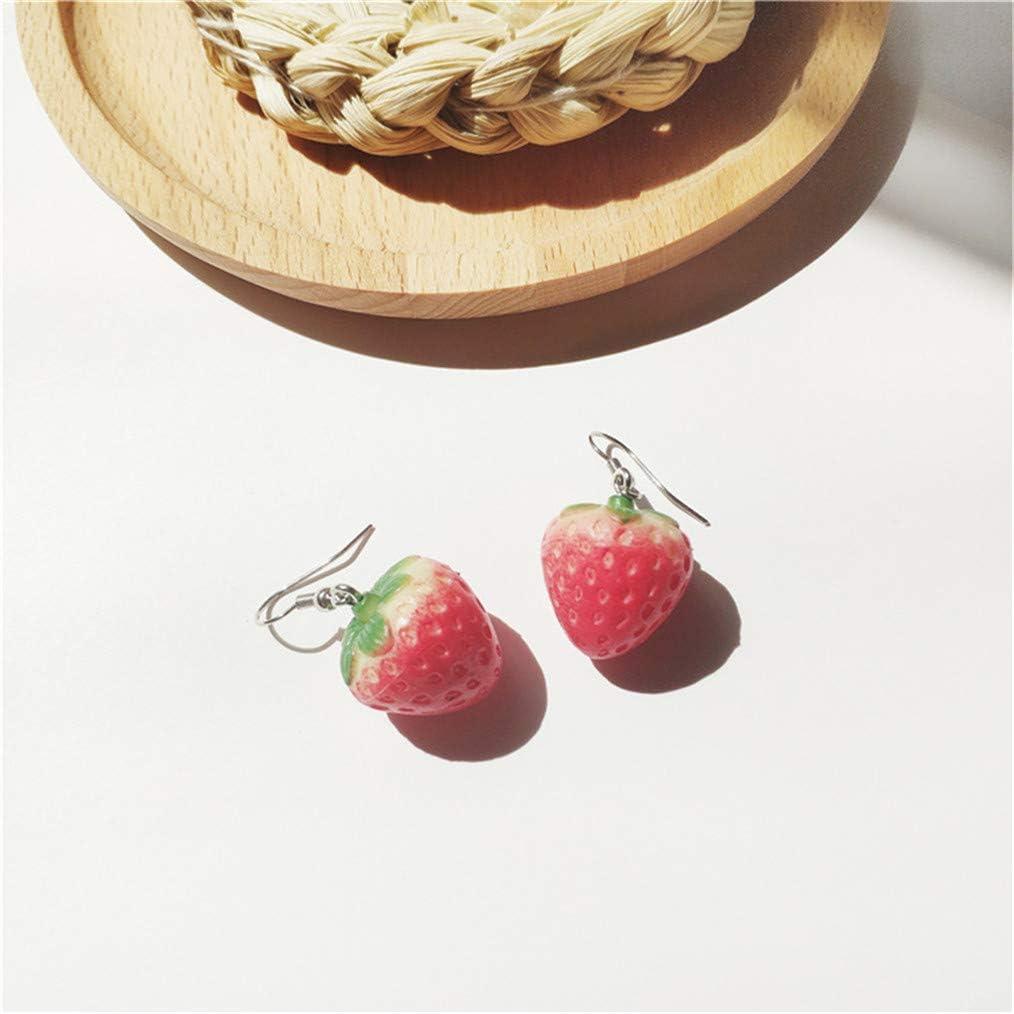 Cngstar Fruits fraise boucle doreille femelle belle fille simulation rouge fraise boucle doreille pour les femmes