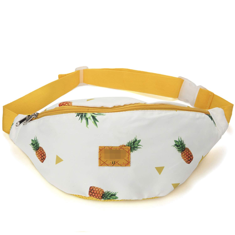 Large Capacity Women Waist Packs Cotton Fabric Pineapple Printed Chest Bag Zipper Phone Belt Bag Hip Bag