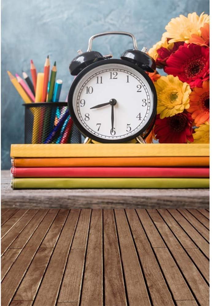 6.5x10ft Back to School Polyester Photography Background Black Alarm Clock Color Pencils Flowers Books Rustic Wooden Floor Backdrop Pupils Students Portrait Shoot New Term Studio Props