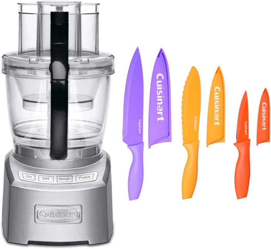 Cuisinart FP14DCN Elite Collection 2.0 14-cup Food Processor (Die Cast) w/ 6-Piece Nonstick Color Chef Knife Set Bundle (2 Items)