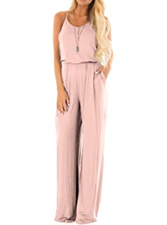 1fde69c8506 Adreamly Women Casual Loose Sleeveless Open Back Wide Leg Pants Romper  Jumpsuits Pockets