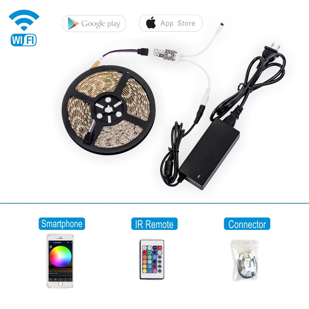 CASLICHT LED Strip Lights RGB WiFi Control 16.4ft/5M SMD 5050 300LEDs Waterproof IP 44 + 24Key IR Remote, with Connectors Kit + 12V DC 5A Power Adapter (16.4ft WiFi Strip KIT-12V)