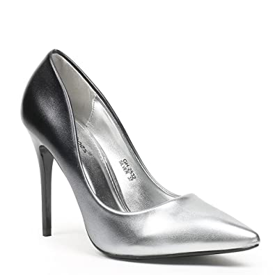0fcb0df31e7 Ideal Shoes Women s Court Shoes Silver Size  5  Amazon.co.uk  Shoes ...