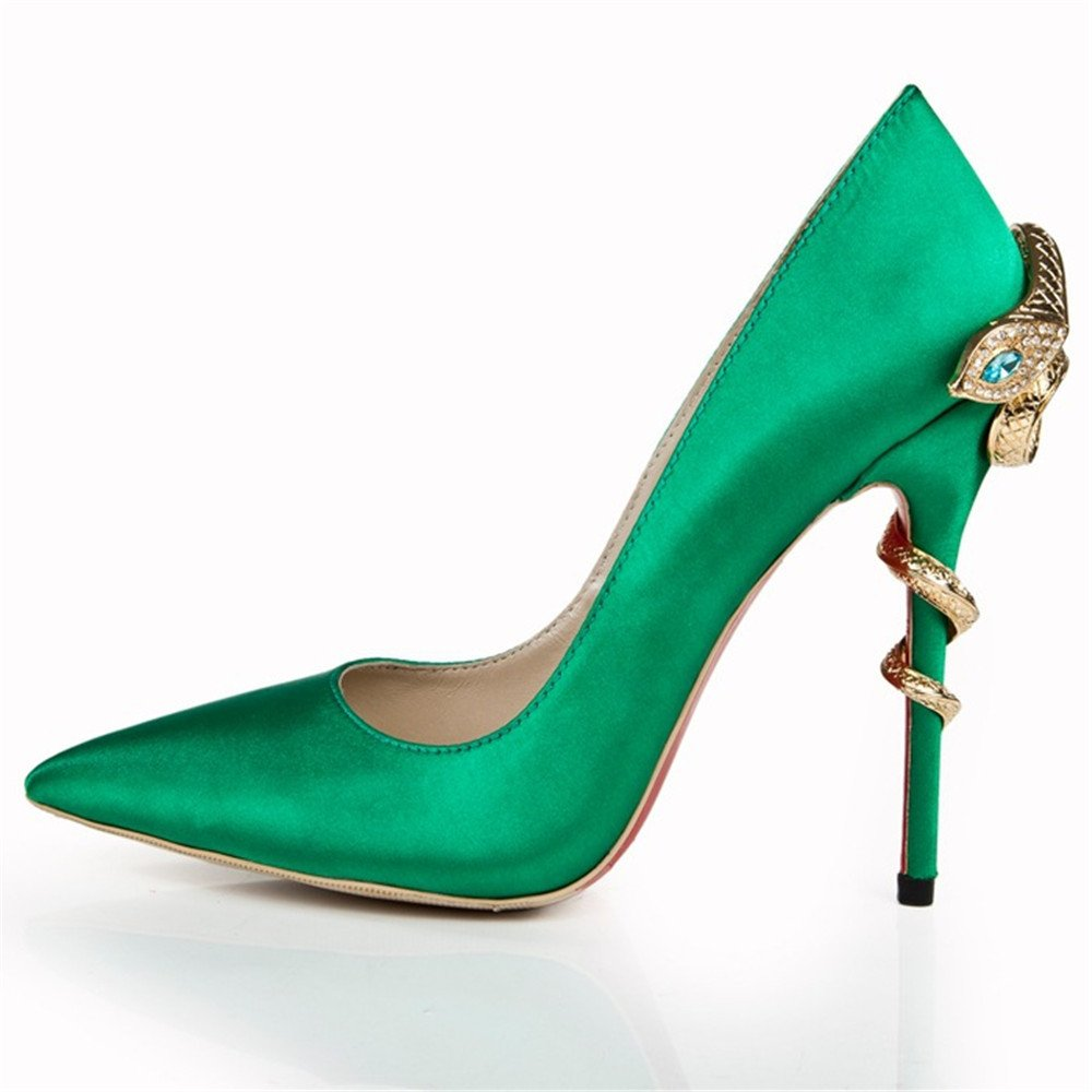 Shoemaker'S Heart Pointed Shoes Green Eyes Snakes And Heels Heels Shoes Shoes Green Forty