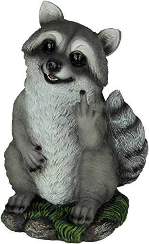 World Of Wonders Rascally Raccoon Bird Finger Yard or Garden Statue
