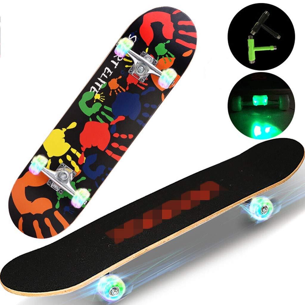 スケートボード 四輪スケートボード子供大人ロードトラベル男性と女性アクションスケートボード初心者スケートボード (Color : G) G