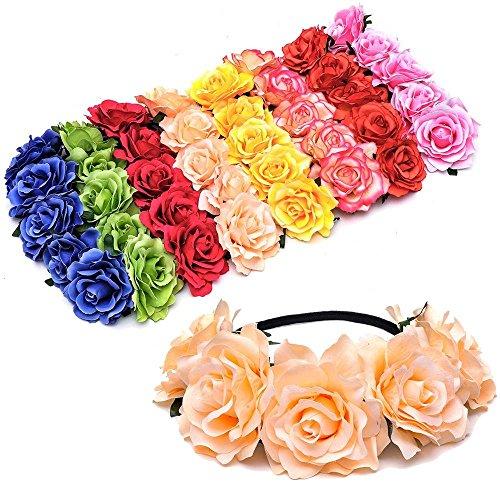 8pcs Handmade Floral Crown Rose Flower Headband Hair Garl...