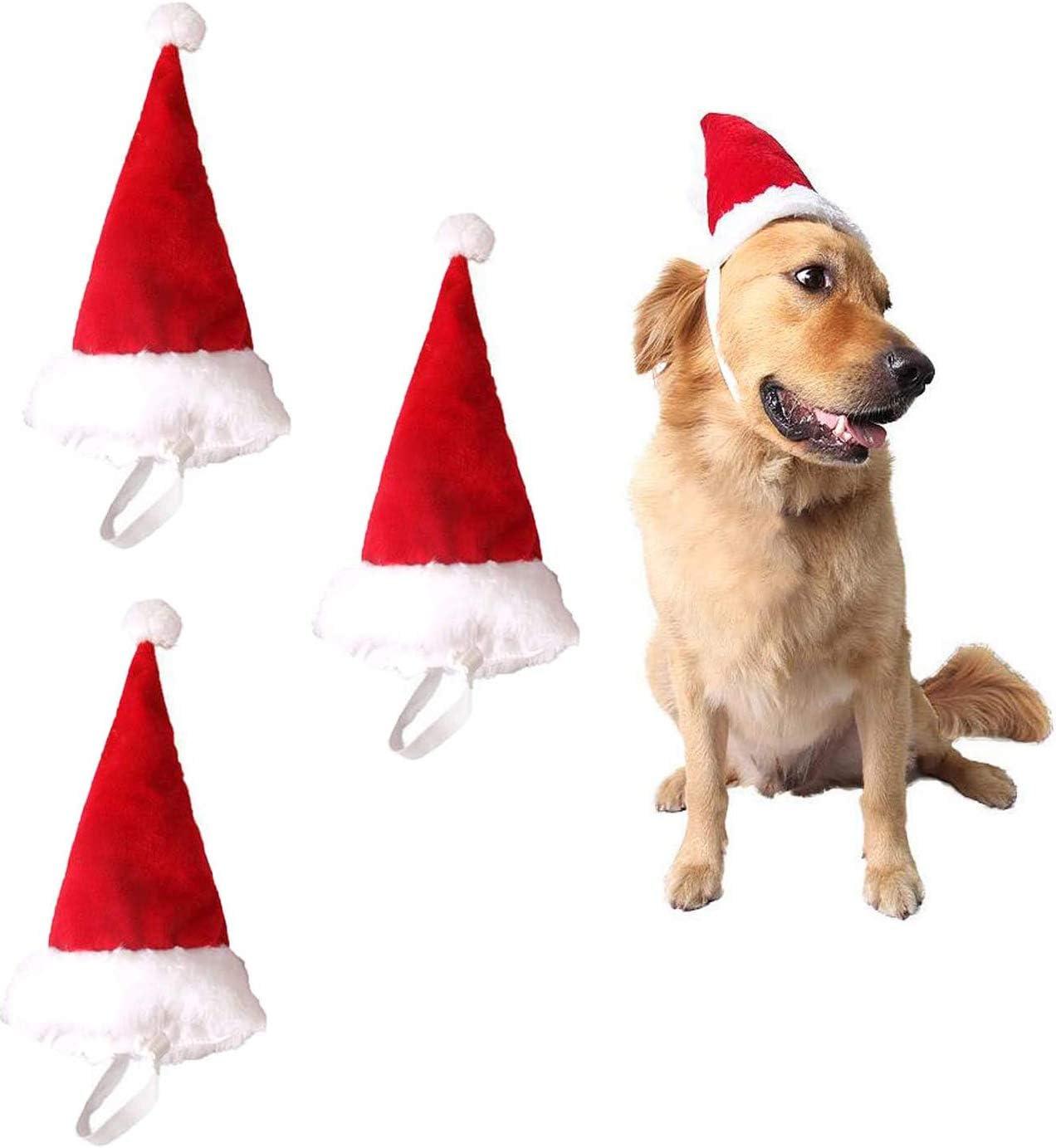 Pack 3 Gorros Pequeños de Papá Noel para Perros y Gatos Disfraz de Navidad de Mascotas