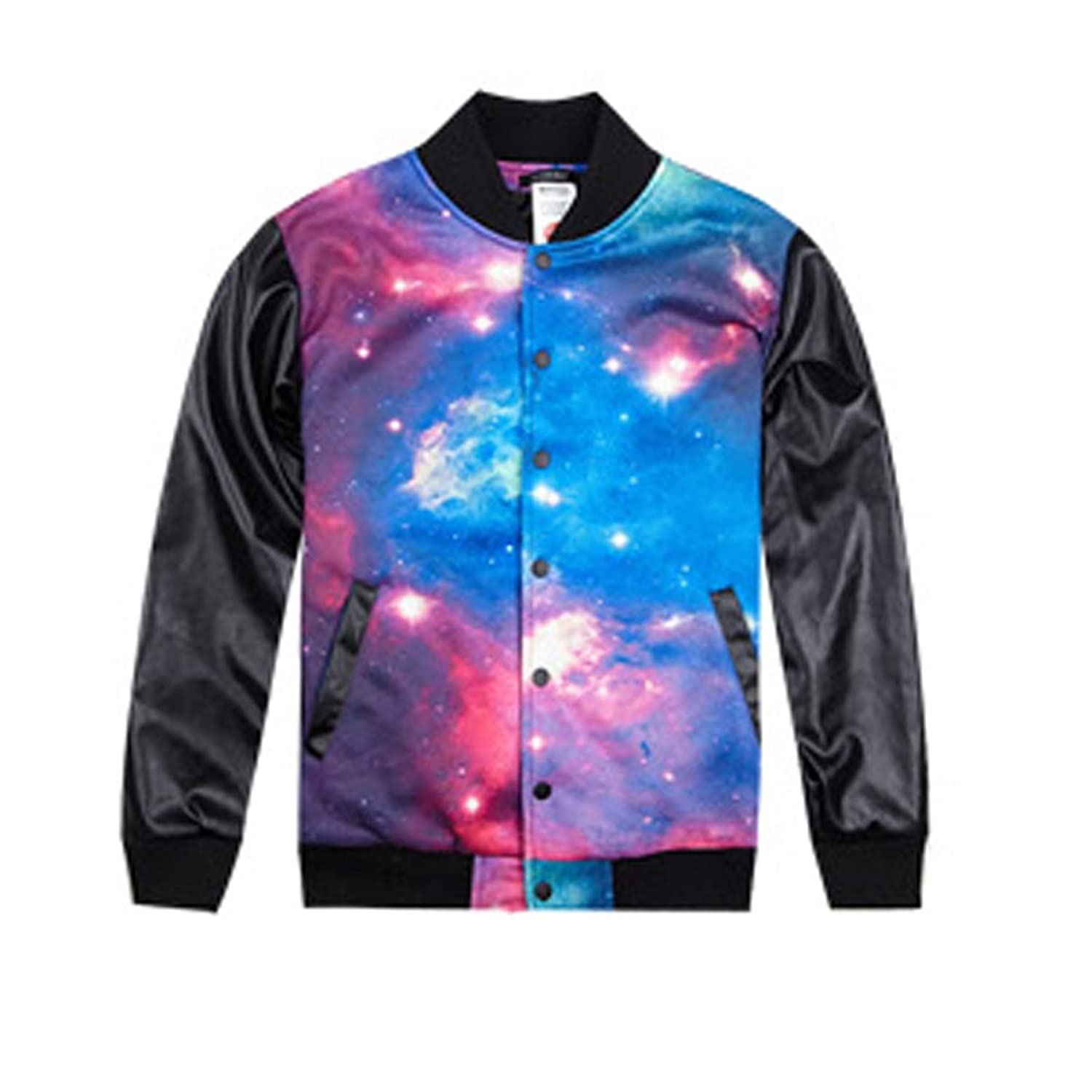 Generic Men's Galaxy Digital Print Leather Sleeves Baseball Jacket ...