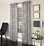 "Jungle Elegance Into the Wild Single Semi-Sheer Curtain Panel with Grommets - Charcoal (52""W x 63""L)"