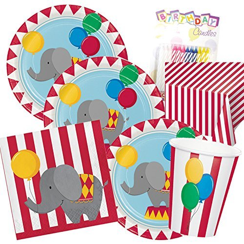 Circus Time ! Baby Elephant Theme 1st Party Supplies Pack (Serves-16) Dinner Plates, Luncheon Napkins, Cups and Tablecloth - First Carnival Party Tableware Supply Set Kit include Birthday Candles