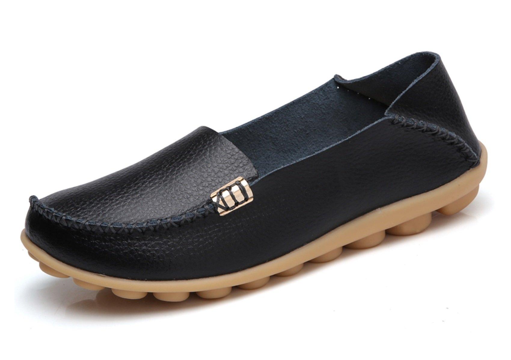 VenusCelia Women's Natural Comfort Walking Flat Loafer(9 M US,Black)