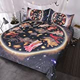 BlessLiving Galaxy Bedding 3 Pieces Animals Antique Asian Celestial Art Duvet Cover Set 3d Oriental Bedding Sets (Full)