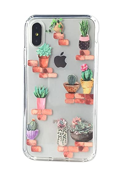 reputable site b6114 b02a1 iPhone X Case, Ftonglogy Girls Women Cactus Cacti Flower Pattern Clear  Design with Air Cushion Shockproof Flexible Bumper Nice Grip Protective  Case ...