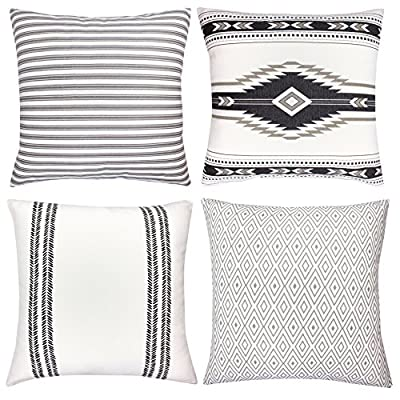 "Decorative Throw Pillow Covers For Couch, Sofa, or Bed Set Of 4 18 x 18 inch Modern Quality Design 100% Cotton Stripes Geometric ""Sahara"" by Woven Nook"