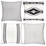 Woven Nook Decorative Throw Pillow COVERS ONLY For Couch, Sofa, or Bed Set Of 4 18 x 18 inch Modern Quality Design 100% Cotton Stripes Geometric Sahara by
