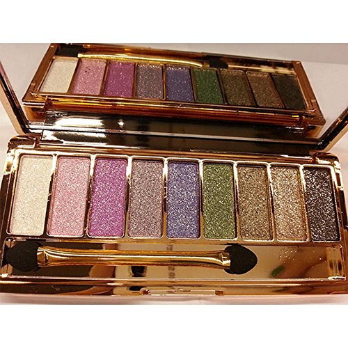 PEATAO 9 colors Glitter Loose Powder Eyeshadow Diamond Bright Colorful Eye Shadow Palette Cosmetics(US STOCK) (one size, Type 1)
