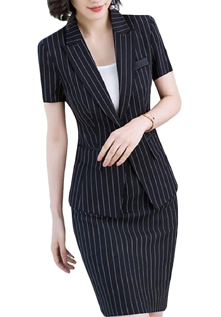 Zimaes-Women Stripe Short-Sleeve Button Blazer and Bodycon Dress Suit Sets