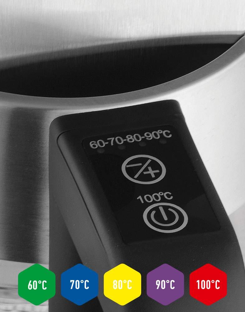 Funci/ón mantener caliente Control de Temperatura 60-100/ºC 2200W 1,8 L Libre de BPA ForMe Hervidores el/éctricos Hervidor de Cristal Inoxidable Pantalla LED Desconexi/ón autom/ática