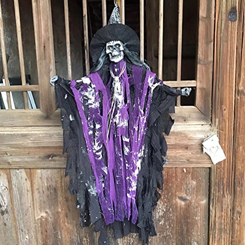AZOWA 27.5'' Animated Cool Scary Hanging Grim Reaper Skull Witch Ghost for Best Halloween Yard Decorations Prop (Purple, 15.7'' X 27.5'')