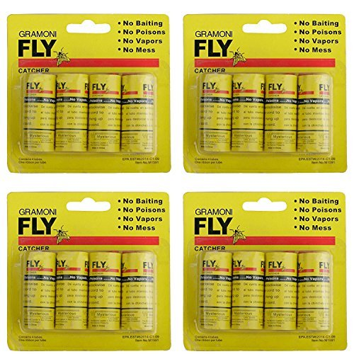 Sticky Fly (GRAMONI 16PCS Sticky Fly Catcher Trap,Fly Paper Ribbons, Fly Catcher Ribbon,Fly Paper Strips,Fly Trap (16psc))