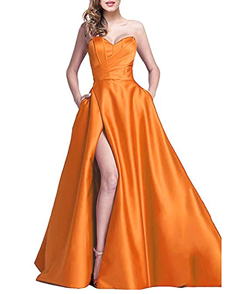 Borange alilith.Z Sexy Sweetheart Side Slit Beaded Prom Dresses Long Formal Evening Dresses Party Gowns for Women with Pockets