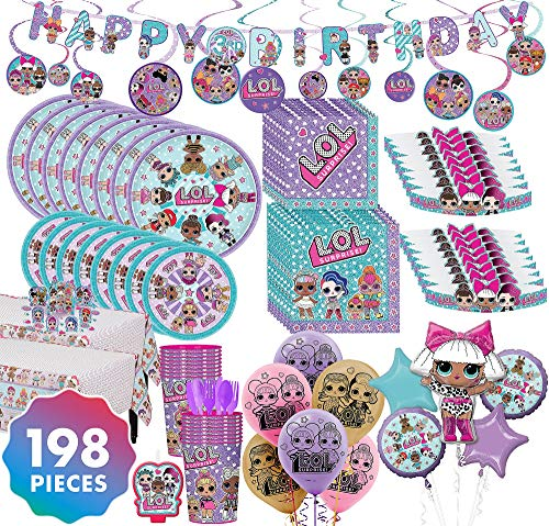 Party City LOL Surprise! Mega Ultimate Party Kit for 16 Guests, 198 Pieces, Includes Tableware, Tiaras, and Balloons]()