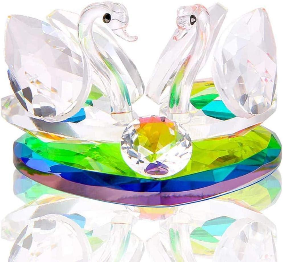 YZDMC Adornos Estatua de Cisne de Cristal Colección de Recuerdos con Amor Base de corazón Pisapapeles de Escritorio Decoración Favor de la Boda