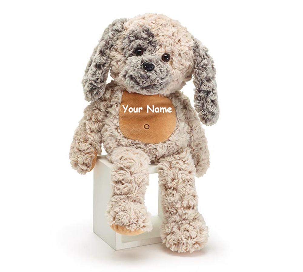 The Trendy Turtle Personalized Beige Cuddle Puppy Dog with Curly Fur Plush Stuffed Animal Toy - 17 Inches by The Trendy Turtle