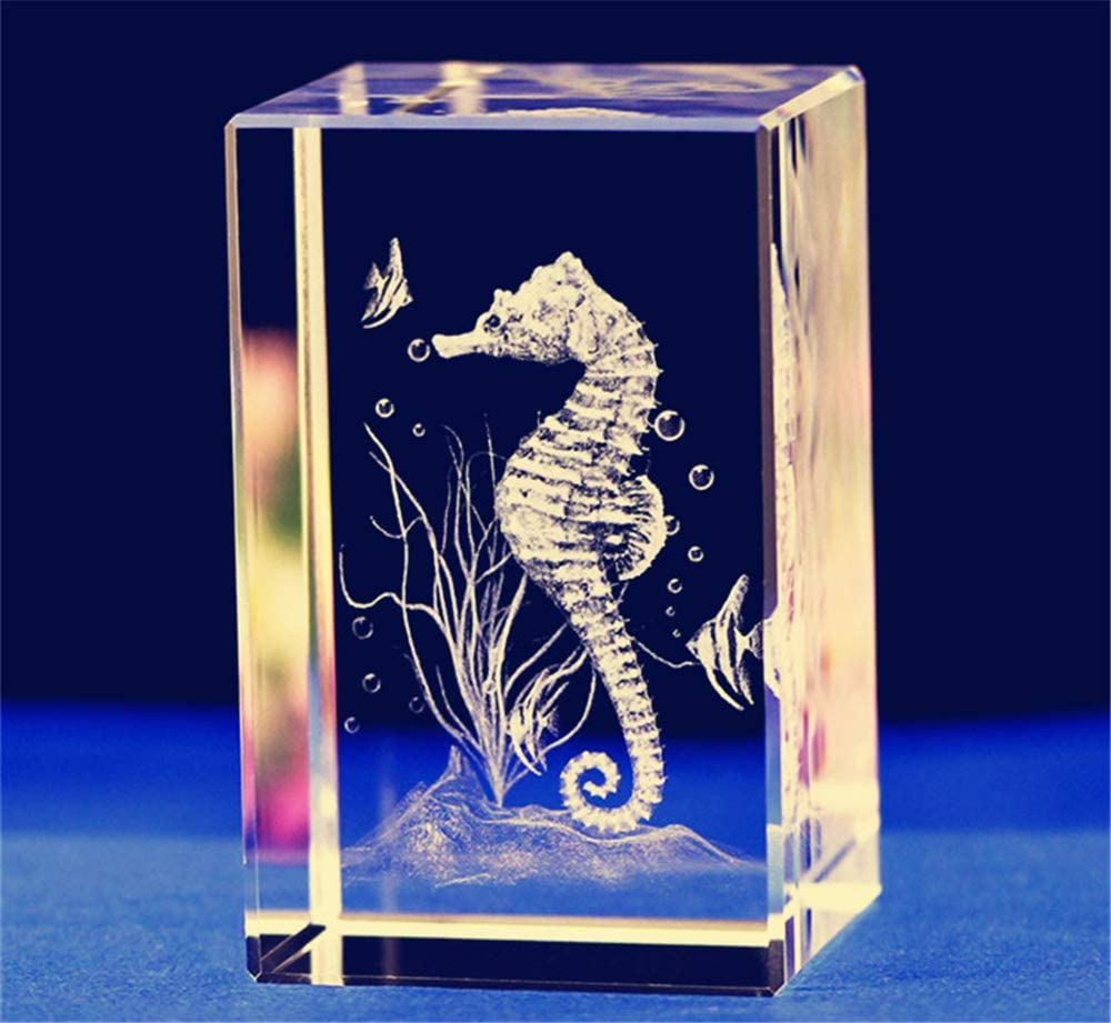 Yellow Orange Seahorse Dichroic Laser Engraved Etched Dichroic Fused Glass Pendant
