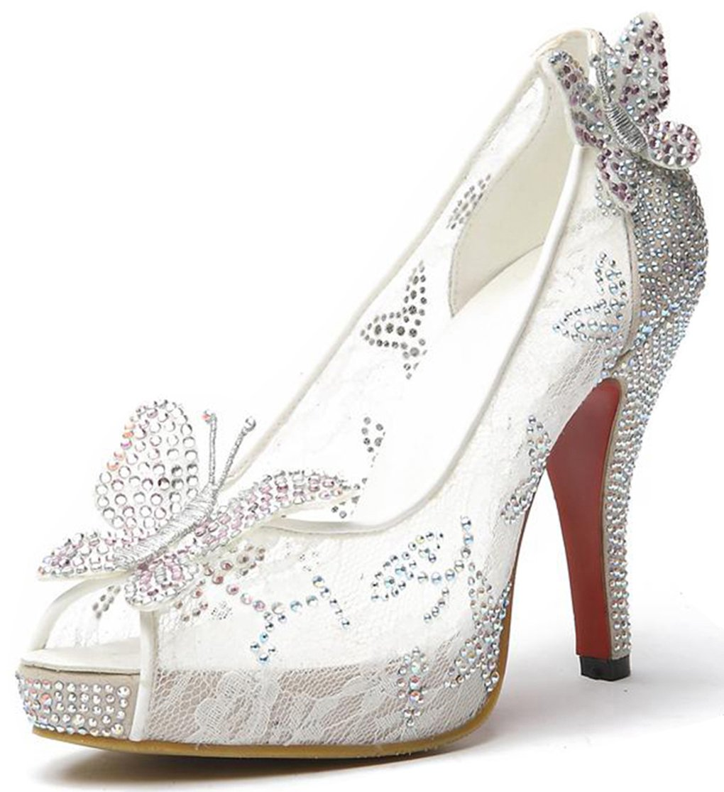 Littleboutique Lace Wedding Pumps Crystal Bridal High Heels Rhinestone Evening Party Dress Pump White 7.5