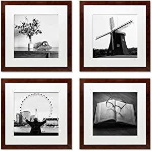 12x12 Picture Frames Set of 4, Wood Photo Frame with Mat Display Pictures 8x8 or 12x12 Without Mat,PVC Glass,for Wall Home Office Decor(Dark Red)