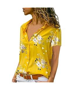 Joyionier Women Loose Shirt Print V-Neck Short Sleeve Blouse Daily Pullover Top (L, Yellow)