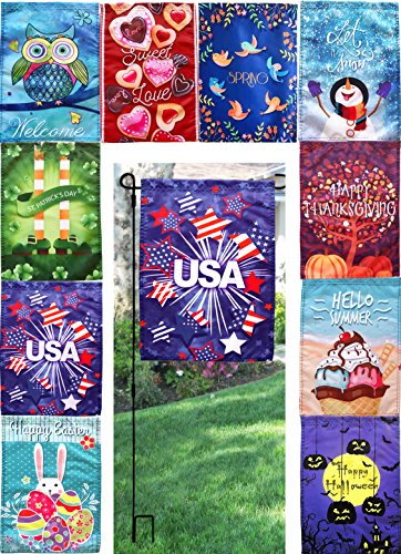 seasonal-holiday-garden-flags-set-of-10-12-x-17-with-metal-flag-pole