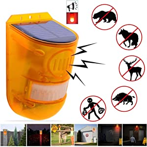 Solar Strobe Light, 6LED Flashy Lighting Motion Detector Solar Alarm Siren 129dB Laud Sound Security Lights IP65 Waterproof with Adjustable Modes for Home,Farm,Barn,Villa,Yard,Hacienda,Apartment