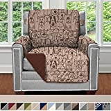 Sofa Shield Original Patent Pending Reversible Chair Slipcover, Dogs, 2' Strap/Hook, Seat Width Up to 23' Machine Washable Furniture Protector, Slip Cover Throw for Pets, Kids (Chair: Dog/Chocolate)